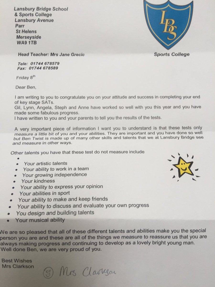 teacher sends autistic boy a letter after he failed then mom reads cm6vzxtwaaag g0