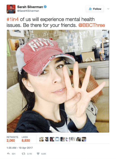 Celebrities Tackle Mental Health Stigma With 4 Fingered Selfie